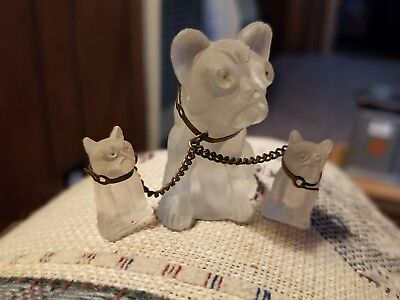 Antique Satin   Clear Glass Bulldog Family mom and pups  Miniature Made in Japan