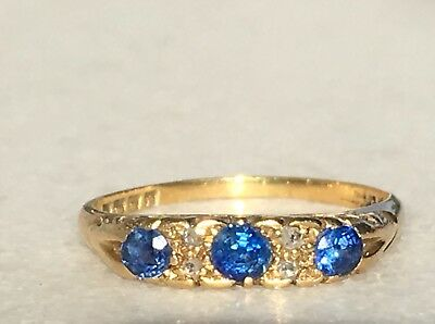 Antiker Ring 18 ct Gold 750 Gold Saphire Diamanten London anno 1918