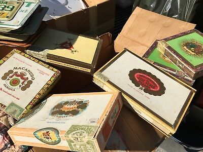Antique lot of wood cigar boxes