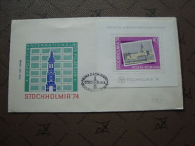 ROMANIA envelope 1/9/74 -stamp Yvert and Tellier bloc n°115 (cy2)