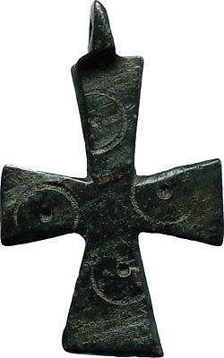 Ancient Christian Byzantine Medieval Bronze CROSS Artifact ca 1000-1100AD i66425