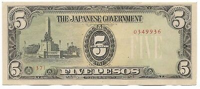 Rare Old Japanese WWII Japan War 5 Peso Dollar WW2 Antique Collection Note - 172