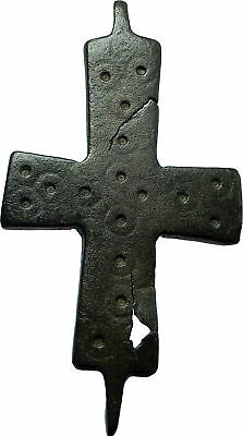 Ancient Christian Byzantine Medieval Bronze CROSS Artifact ca 1100-1200AD i66431