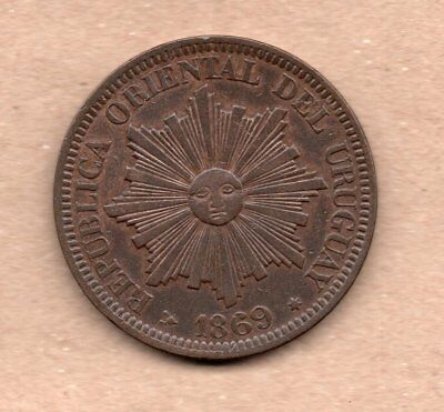 Uruguay - 4 Centesimos - 1869 H - Sun Face - Copper Coin