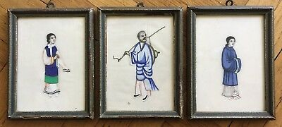 Set Of (3) Antique Chinese Original Watercolor Pith Painting On Rice Paper