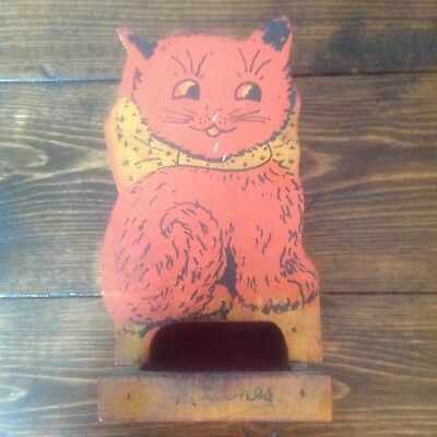 Antique Wooden Cat Match Holder Safe Painted Kitty Matches