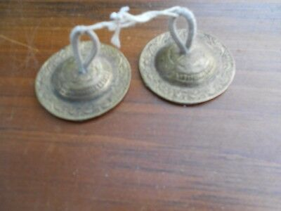 Vintage Solid Brass Finger Cymbals, Belly Dancer, India