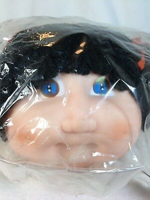 """Vintage Darice Toddlers Cabbage Patch 5"""" Doll Head Black Hair Pigtails Crafts O"""