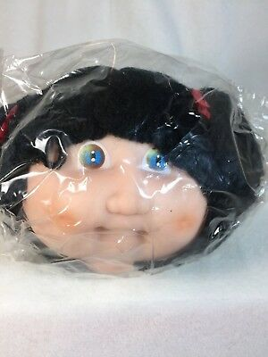 """Vintage Darice Toddlers Cabbage Patch 5"""" Doll Head Black Hair Pigtails Crafts R"""
