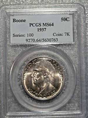 1937 Boone Commemorative Half Dollar PCGS MS64 NICE Luster PQ! low mintage 9,810