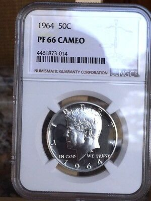 """1964 Kennedy Half NGC PF 66 Cameo * Price Guide $65 """" Brown Label *"""