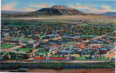 Vintage LINEN postcard~ Air view of town, railroad yards~ Tucumcari NEW MEXICO