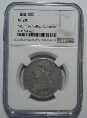 = 1838 NGC VF20 BUST Half, REEDED EDGE, MAUMEE VALLEY Collection, FREE Shipping