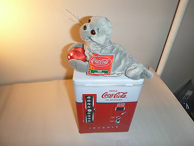 Stuffed Coca Cola Seal animal & faux Vending Machine Tin lot gift set new