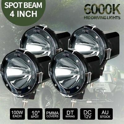 4x 4 inch 100W HID SPOT Driving Lights Xenon Offroad 4x4 Spotlights 12V Black
