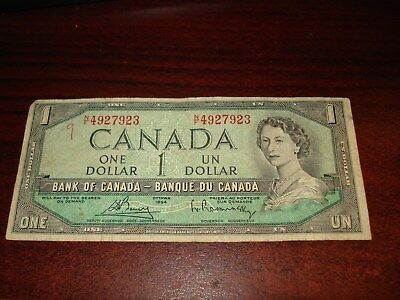 1954 - Canadian one dollar bill - $1 Canada note - NF4927923