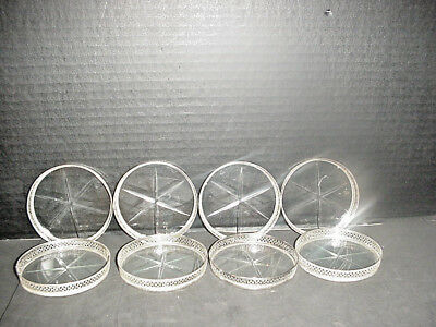 Webster Sterling Silver & Crystal Coasters set of 8 Lovely Condition Vintage