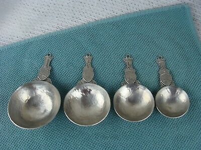 Vintage Pewter Fish Measuring Spoons, Set of 4 Tin Woodsman Crosby & Taylor