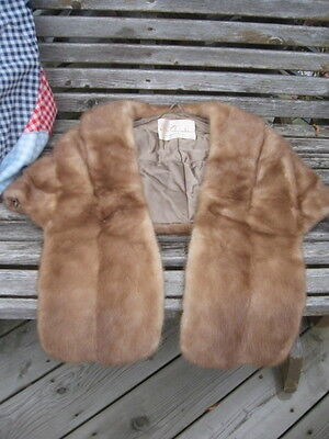 "super soft blond brown mink fur stole wrap small 50"" in long"