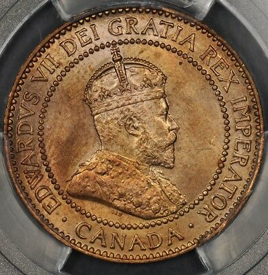 1908 Pcgs Ms64+Rd Canada Large Cent Landon Collection