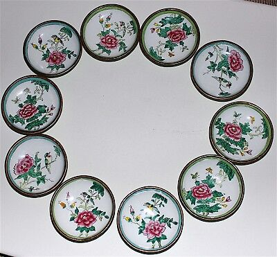 Exquisite Vintage Set Of 10 Chinese Cloisonne´ Butter Pats Hand-Painted Unique