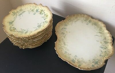9 PC LIMOGES French Decorative Plate Platter Martial Redon Co ML Floral Stylized