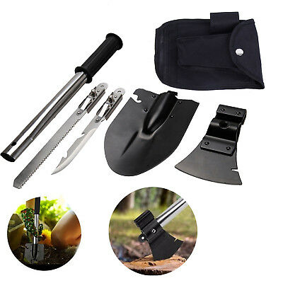 4 In 1 Ultimate Survival Emergency Camping Hiking Shovel Knife Axe Saw Gear Kit