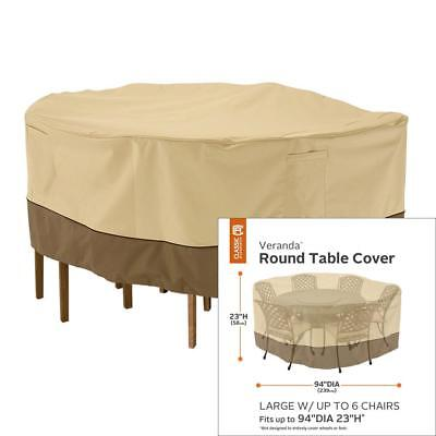 Classic Accessories Veranda Round Patio Table and Chair Set Cover, Large in...