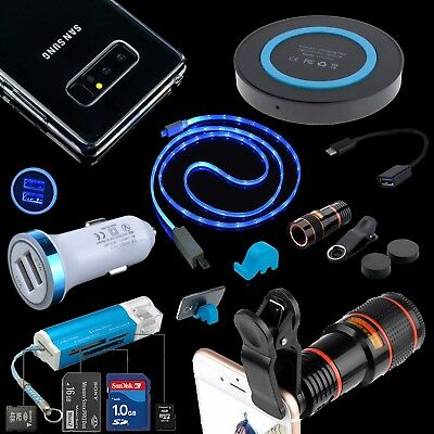HD Telescope Lens Case QI Car Charger Cable For Samsung Galaxy S8 S9 Note 8 S7