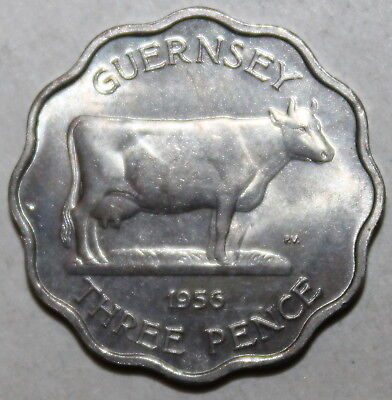 Guernsey 3 Pence Coin, 1956 - KM# 17 - United Kingdom UK - Cow Three