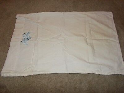 """Vintage Floral Embroidered Pillow Case 29"""" x 18"""" USA White and Blue"""