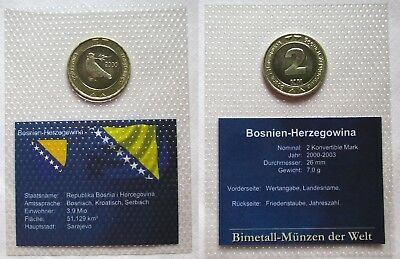 Bi-Metall Münze 2 Konvertible Mark Bosnien Herzegowina 2000 im Blister (124909)