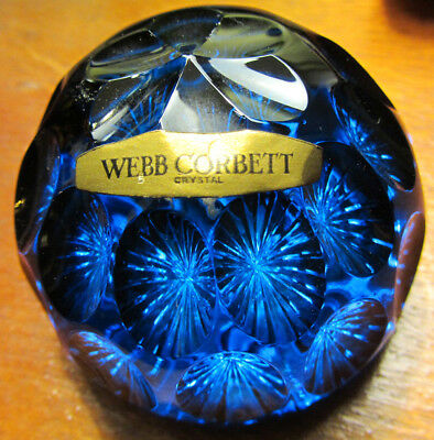 Vintage 60s WEBB CORBETT Cobalt Blue Faceted Starburst Cut Glass Paperweight