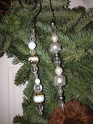 36 Beaded Victorian Tear Drop Hanging Icicle Style Christmas Ornaments Beautiful