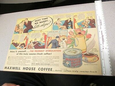 """newspaper ad premium 1930s comic book strip MAXWELL HOUSE COFFEE """"Let's Elope"""""""