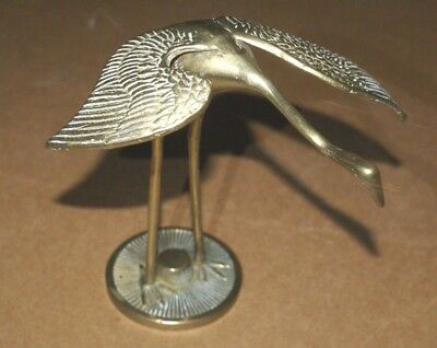 """SOLID BRASS BIRDS ON PERCH 6"""" TALL+ IBIS 7"""" TALL/ 70's / EXC.COND.*"""