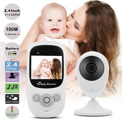 "2.4"" LCD Color Baby Monitor Wireless Security Camera Audio Video Lullabies Radio"