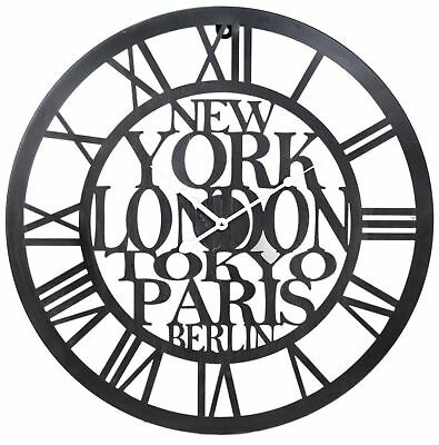 Large Roman Numeral Wall Clock Vintage Style Metal Cut Out Black Art Decal