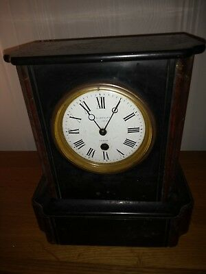 Antique Victorian marble mantle clock by JB Yabsley, London c1890