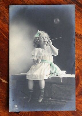 Lovely Hand Coloured Photo Postcard Rp Little Girl Blowing Bubbles Unused Carlto