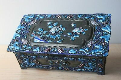 Chinese Enameled Silver Washed Bronze Great Covered Box.