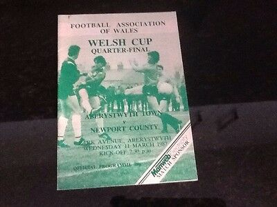 Aberystwyth Town v Newport County Welsh Cup Programme 1986-87