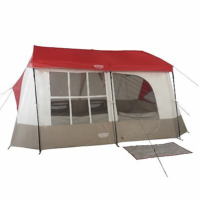 Wenzel Kodiak 12 x 14 9 Person Family Cabin Style Camping Tent w/ Divider, Red