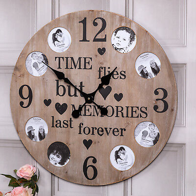 Large Round Wood Wall Mounted Collage Family Picture Frame Clock Home Decor