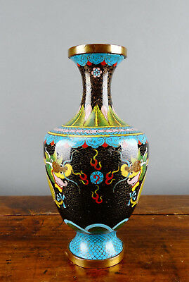 Chinese Bronze Cloisonne Vase Enamel with Dragon Antique Republic Period Qing