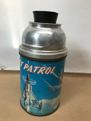 Vintage 1957 Jet Patrol Metal Thermos for Aladdin Lunchbox w/ rubber stopper