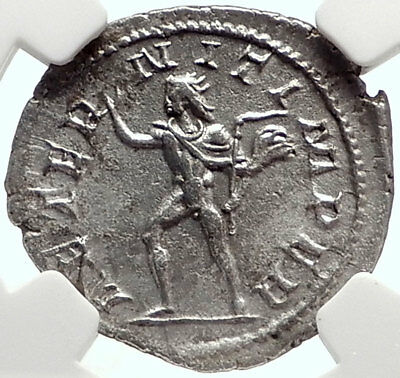 PHILIP II Authentic Ancient Silver 246AD Roman Coin of Rom w SOL SUN NGC i69081