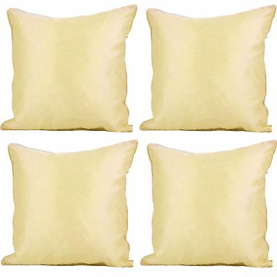 "4 x Faux Silk Plain Cushion Cover Soft Satin Covers 43x43cm, 17x17"", Cream"