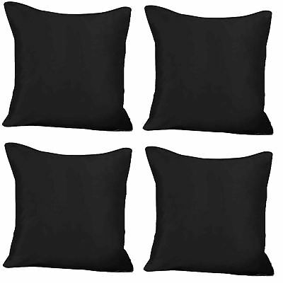 "4 x Faux Silk Plain Cushion Cover Soft Satin Covers 43x43cm, 17x17"", Black"
