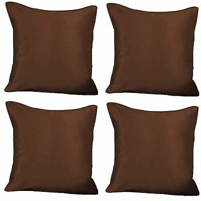 "4 x Faux Silk Plain Cushion Cover Soft Satin Covers 43x43cm, 17x17"", Chocolate"